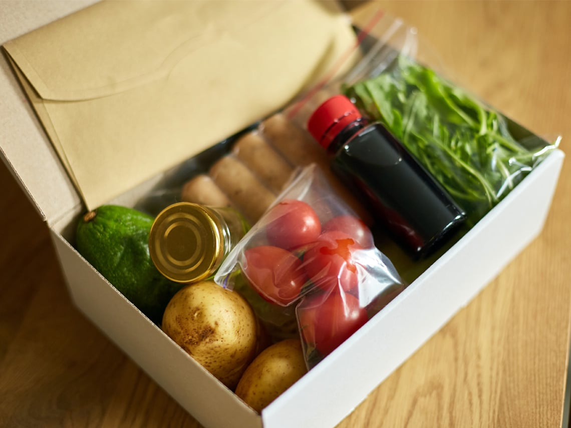 A meal delivery subscription box full of fruits and veggies
